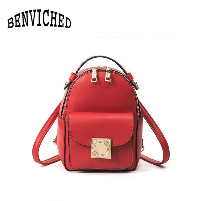 BENVICHED Shoulder bag female Korean college style wind 2018 new wild casual mini backpack fashion hit color shoulder bag R122 aliwilliam 2017 new backpack female wild retro embroidery tide ladies backpack multi functional package college style female bag