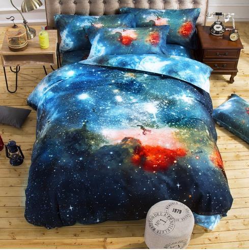 3d Galaxy Bedding Sets Single Double Twin/Queen 2pcs/3pcs/4pcs Bedclothes Bed Linen Universe Outer Space Duvet Cover Set