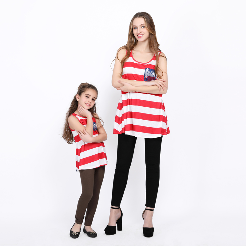 US Mother and Daughter Family Matching Outfits Women Girl Lace Vest Tops Clothes
