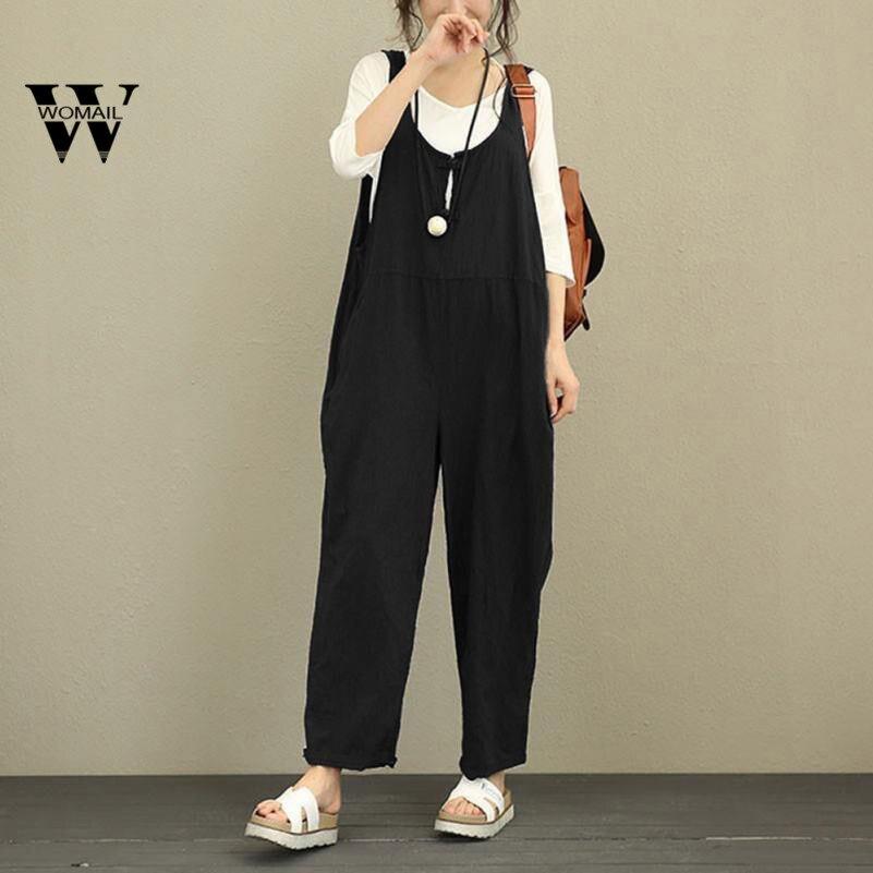 2018 Summer hot sale Women Sleeveless Dungarees Loose Cotton Long Playsuit Jumpsuit Pants Trousers dropship Mar 15