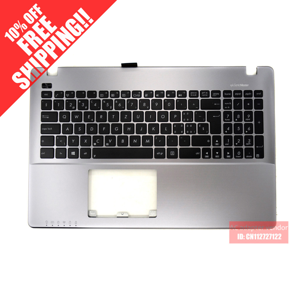 FOR ASUS X550 X552 X550ZE X550CA X550JD A550V R510V C shell palmrest with keyboard silver SW samsung rs 552 nruasl
