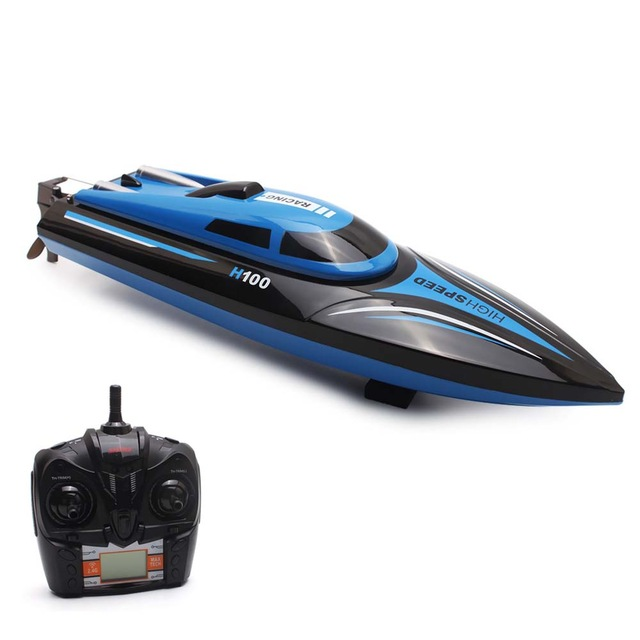 High Speed RC Boat H100 2.4GHz 4 Channel 35km/h Racing Remote Control Boat with LCD Screen Toys for Children