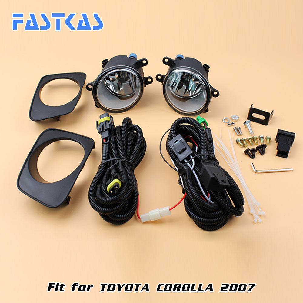 12v Car Fog Light Assembly for Toyota Corolla 2007 Front Left and Right set Fog Light Lamp kit with Harness Relay 12v 55w bulb car fog light lamp for 2003 toyota corolla ip67 free shipping