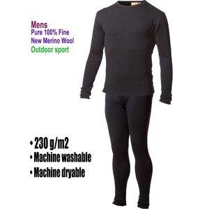 Image 1 - 100% de lana de Merino pura para hombre, capa Base de invierno, suéter térmico cálido, ropa interior transpirable, Tops de peso medio, pantalones, conjunto inferior