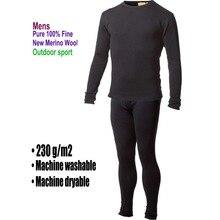 Masculino 100% puro lã merino inverno camada base térmica quente camisola roupa interior respirável meados de peso calças conjunto inferior
