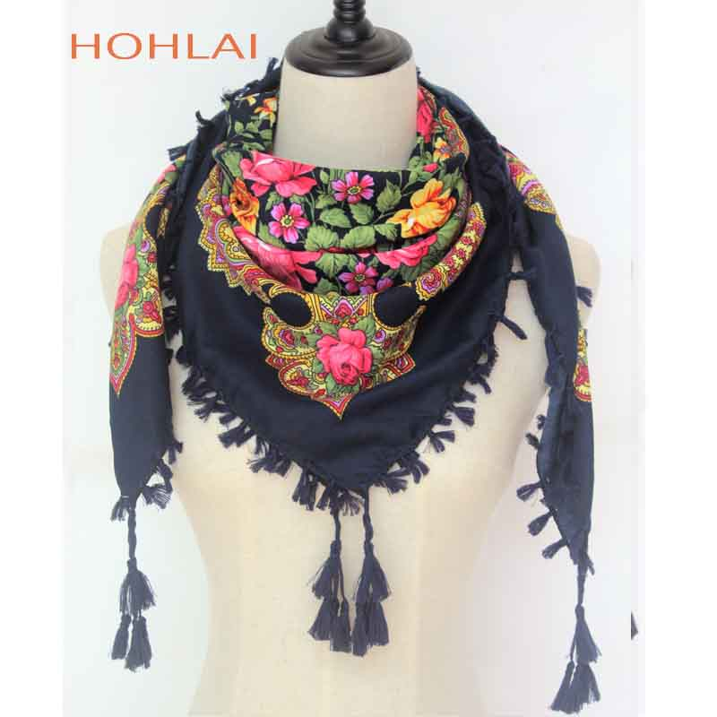0f98ed872e2 US $6.09 50% OFF|New Hot Sell Russia Wquare Fashion decorative Scarf  handmade tassel flower design Scarves Blanket Shawl Handkerchief for  Women-in ...