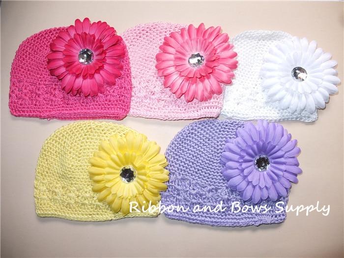 Фото Crochet Beanie WITH Daisy flower  Baby Hat Kids Toddler Cap Handmade Crochet Knitting Hat  5 pcs/lot  Free Shipping