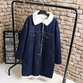 Warm Thick Denim Trench Coat for Women Casual Turn-down Collar Single Breasted Loose Winter Long Trench Outerwear Blue KK2228