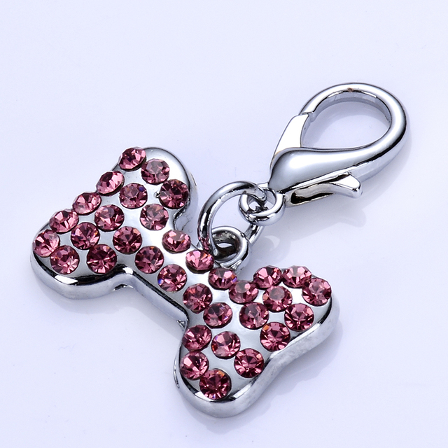 Pink Rhinestones Dog Tags Bone Shaped Charm For Dog Collar Lobster Clasp Jewelry Accessories Zinc Alloy Pendants Pet Supplies