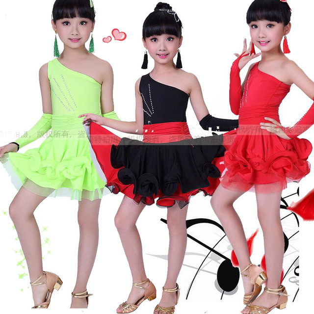 efb6bf54d Girl Red BlackLatin Dancewear dress Standard Kids Latin Competition ...