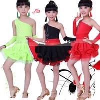 Girl Red BlackLatin Dancewear dress Standard Kids Latin Competition dance Dress Children Salsa Ballroom Dancing Clothes Gloves
