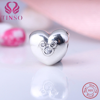 100 925 Sterling Silver Mickey Love Heart Beads Charms Clear CZ Fit Original Pandora Bracelet Necklace
