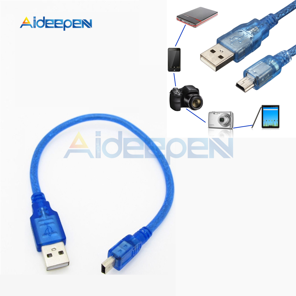 High Quality 30cm USB 2.0 A Male to Micro USB 5 pin Male Data Charge Cable Cord