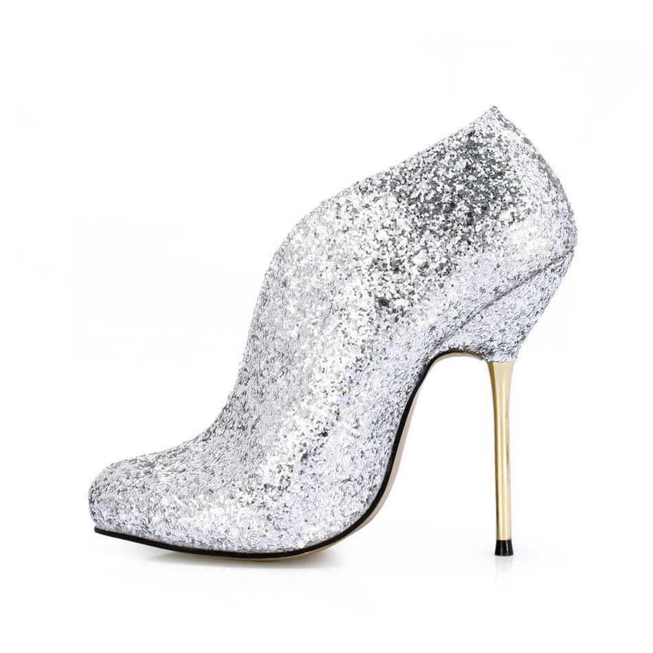 CHMILE CHAU Glitter แฟชั่นเจ้าสาว Bootie ข้อเท้ารองเท้าบู๊ต Stiletto โลหะส้นสูง Bottes cheville Talon Femmes Mariage 3845-e2