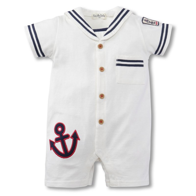 Spring Style Baby Rompers 100% bomuld 2Style Børnetøj Marineblå Hvid Baby Boy Tøj Nyfødt Baby Pyjamas 1stk HB057