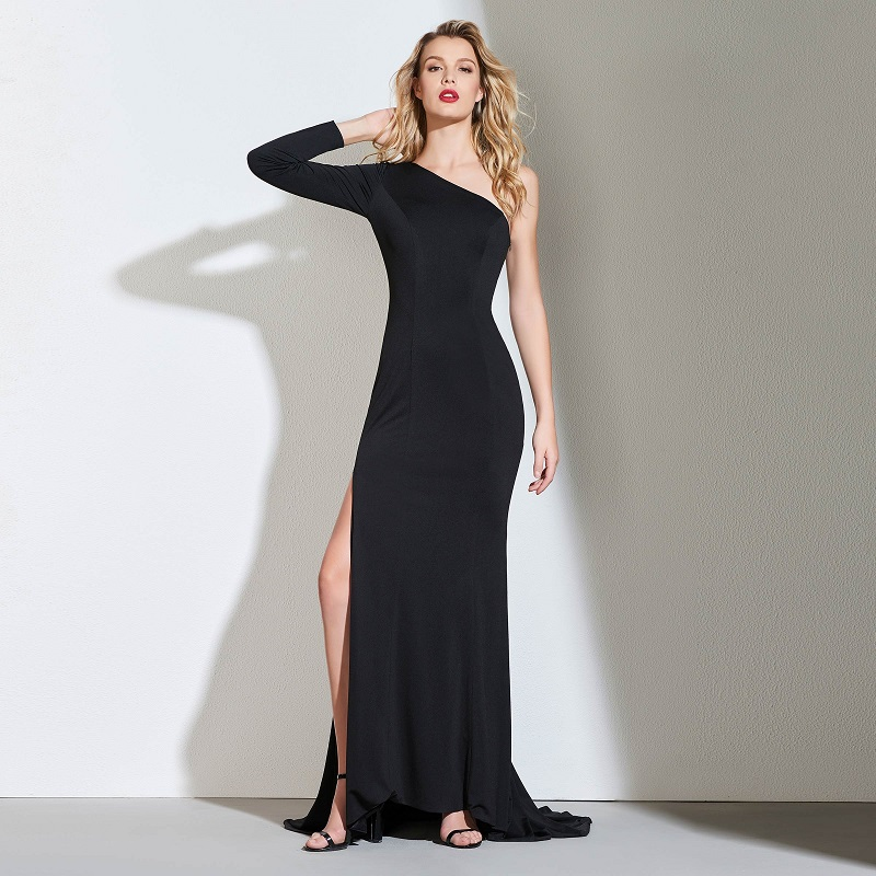 Tanpell one shoulder evening dress black full sleeves ... One Shoulder Black Prom Dress