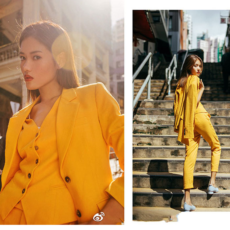 2019 New Korea Style Office Lady Suits Two Piece Set Elegant Yellow Blazer Jacket Vest Pants Business Two Piece Outfits in Women 39 s Sets from Women 39 s Clothing