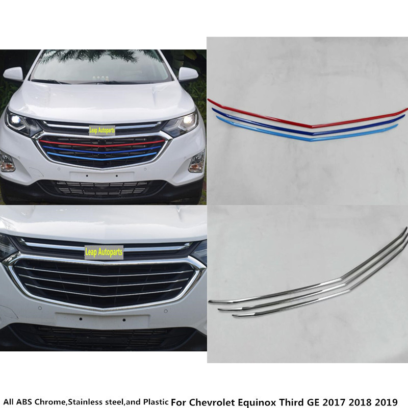 Car body protection trim Front up racing Grid Grill Grille frame hoods part 3pcs For Chevrolet Equinox Third GE 2017 2018 2019 fits for 2011 2016 zotye t600 black radiator grille painted parts racing front grill grille 1pc