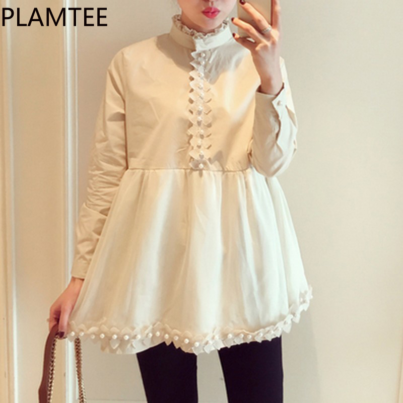 PLAMTEE Nursing Top Breastfeeding Pearl Design Blouses Maternity Clothing Pregnant T Shirt Women Lace T-shirts Pregnancy Clothes