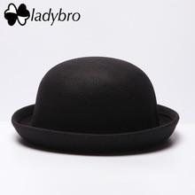Ladybro Autumn Women Fedora Hat Classical Cap Chapeau femme Imitation Wool Cap Women's Hats Cute Solid Black Bowler Hat Female