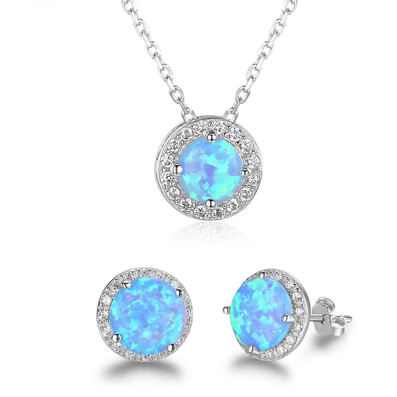 XIYANIKE 925 Sterling Silver Simple Style Natural Crystal Charm Engagement Jewelry Sets Women Ear Accessories Pendant Necklace