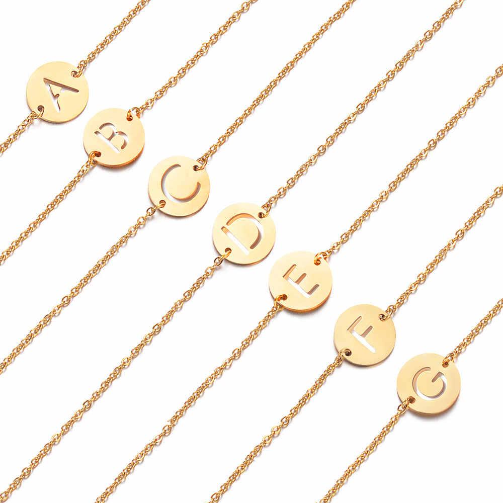 Fabulous 100% สแตนเลสแท้ Gold Filled A-Z ชื่อเริ่มต้น Letter สร้อยข้อมือผู้หญิงหญิง AAAAA สร้อยข้อมือ