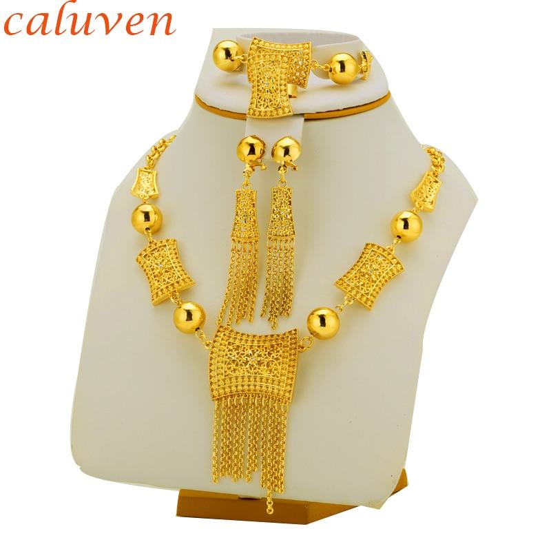 Eritrea Habesha afrikansk bryllup etiopisk afrikansk hot gul farge sett smykker rød stein øreringe & ring & armbånd og anheng for w