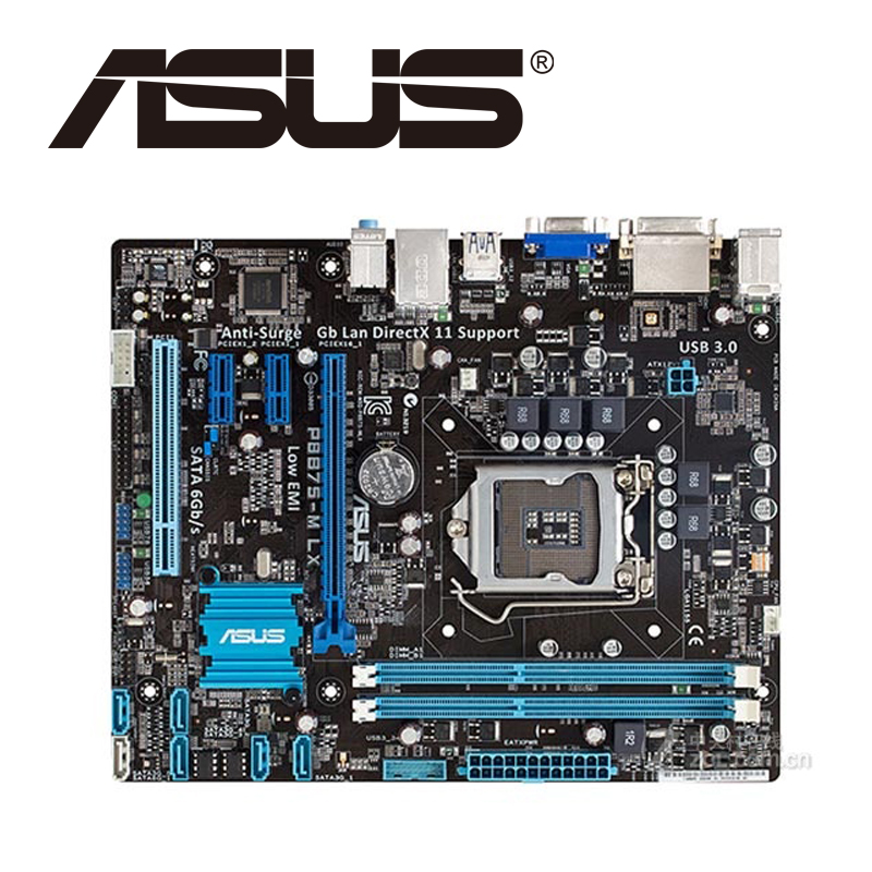 Asus P8B75-M LX Desktop Motherboard B75 Socket LGA 1155 i3 i5 i7 DDR3 16G uATX UEFI BIOS Original Used Mainboard On Sale asus p5ql cm desktop motherboard g43 socket lga 775 q8200 q8300 ddr2 8g u atx uefi bios original used mainboard on sale