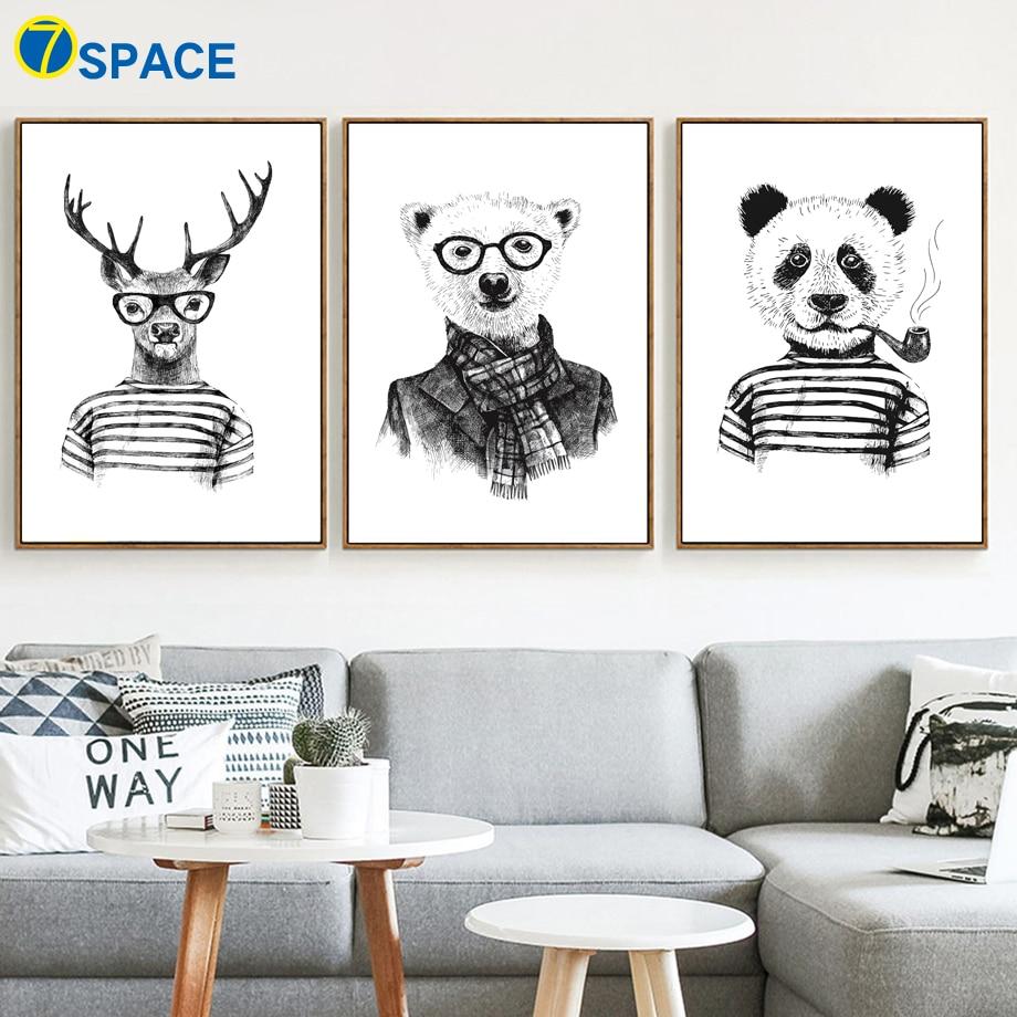 7 Space Deer Panda Bear Wall Art Print Kids Poster Animals Black White Canvas Painting Home