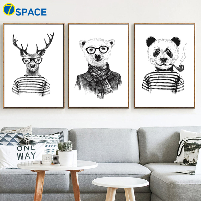 Aliexpress.com : Buy Deer Panda Bear Wall Art Canvas Painting Nordic ...