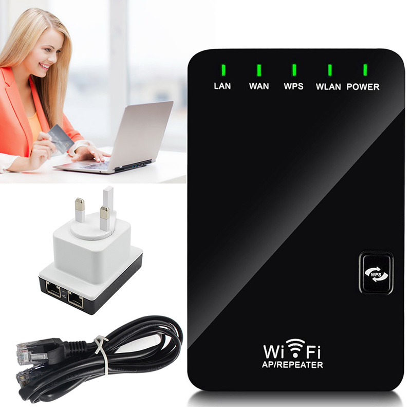 300Mbps Mini Wireless N Router Wifi Repeater Long Range Extender Booster UK Plug ...
