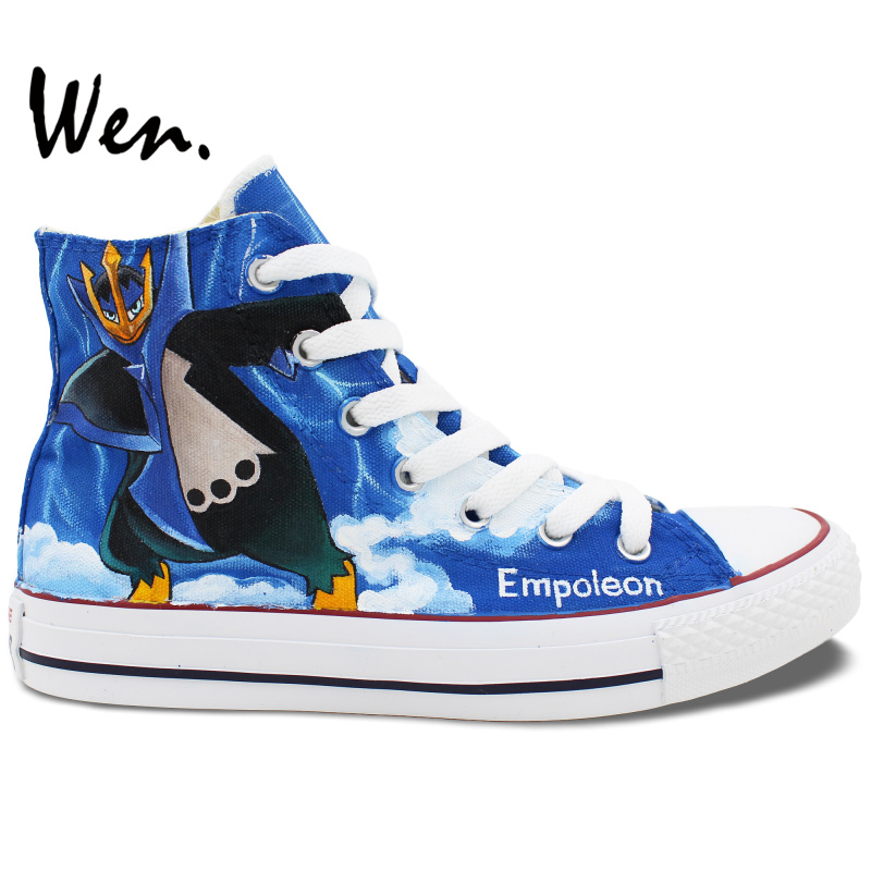 Wen Hand Painted Anime Shoes Design Custom Pokemon Pocket Monster Piplup Empoleon High Top Canvas Sneakers Christmas Gifts wen hand painted shoes design custom anime my neighbor totoro high top canvas sneakers for men women s christmas gifts