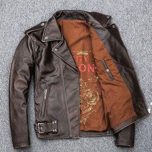 Image 5 - MAPLESTEED veste dhiver en cuir homme, classique, mince et mince, pour motard, marron, 5XL M190, 100%