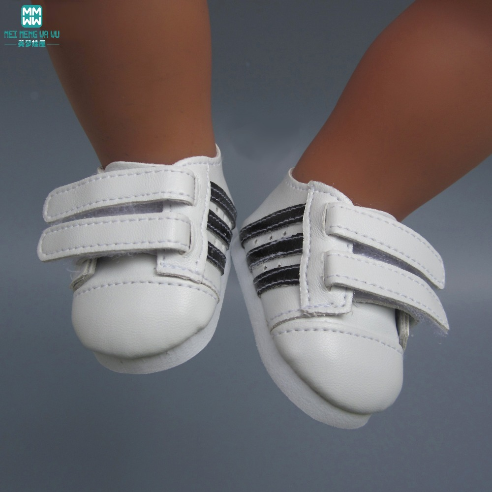 Fashionable white sneakers shoes for dolls fits 43 cm Zapf dolls baby born and 18