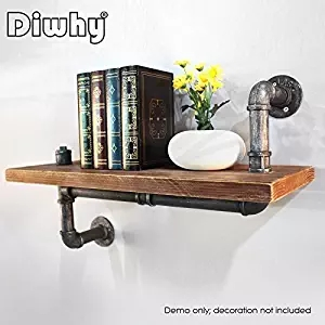 Wall Mounted Industrial Rustic Urban Iron Pipe Wall Shelf Wooden Board Shelving Home Res ...