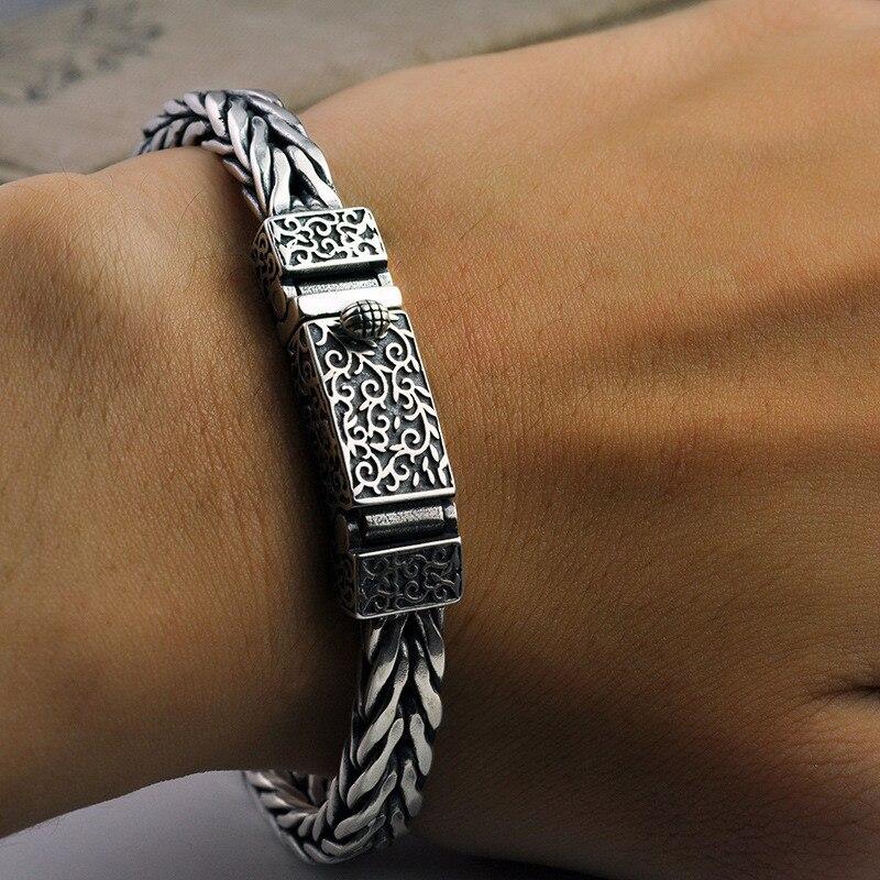 New 100 925 Sterling Silver Dragon Grain Bracelet for Men Weave Design Male Bangles Thai Silver