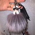 Real Fox Fur Monster Pom Pom Fur Balls Doll Ball Key ring key chain Bag car Charm Fur Tassel Pendant
