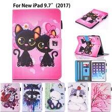 Silicón de la Historieta de la manera de LA PU Cuero de la Cubierta Para Apple Nuevo iPad 9.7 2017 Caso A1822 Funda Tablet Perro Gato Búho Patrón Soporte Shell