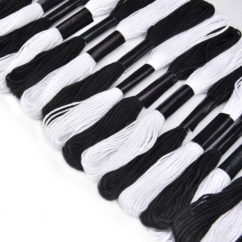 Black And White Embroidery Floss Skeins
