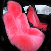 1Pcs Set Car Front Seat Cover & Fur Car Seat Pink Wool Winter Essential Universal Furry Fluffy Thick Faux