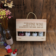 High-Grade Wooden Sangria Storage Box Red Wine Gift Packing Box For 187ml Fruit Wine Bottles 4 Holders Rack Can Be Customized