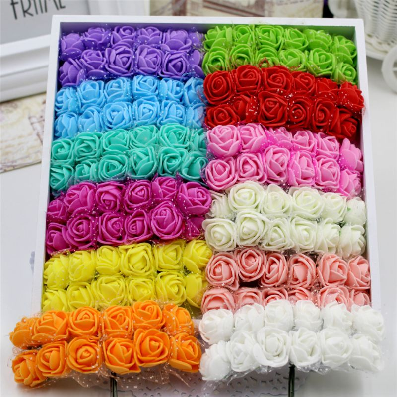 144 Pcs/pack Artificial Flowers Rose DIY Handicraft Materials Foam Rose Home Decoration Box Filler Birthday Party Decoration