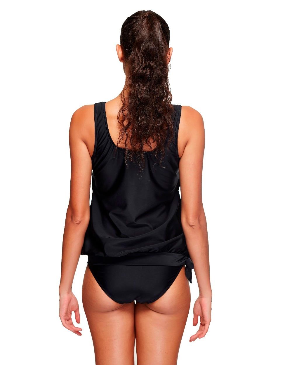 87c5152506d35 2 Piece women swimsuit tankini solid black woman bathing suit beach wear  tank top+bottom quick dry female plus size swimwear 3XL-in Two-Piece Suits  from ...