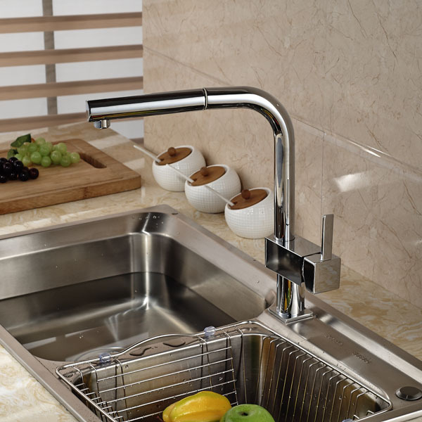 Chrome Brass Pull Out Kitchen Sink Faucet Deck Mount Hot Cold Mixer Water Taps