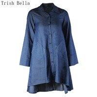 Summer Dress 2017 Fashion Ukraine Cowboy Blue Cardigan Button Easy Large Size Asymmetric Vestidos Mujer Vestido