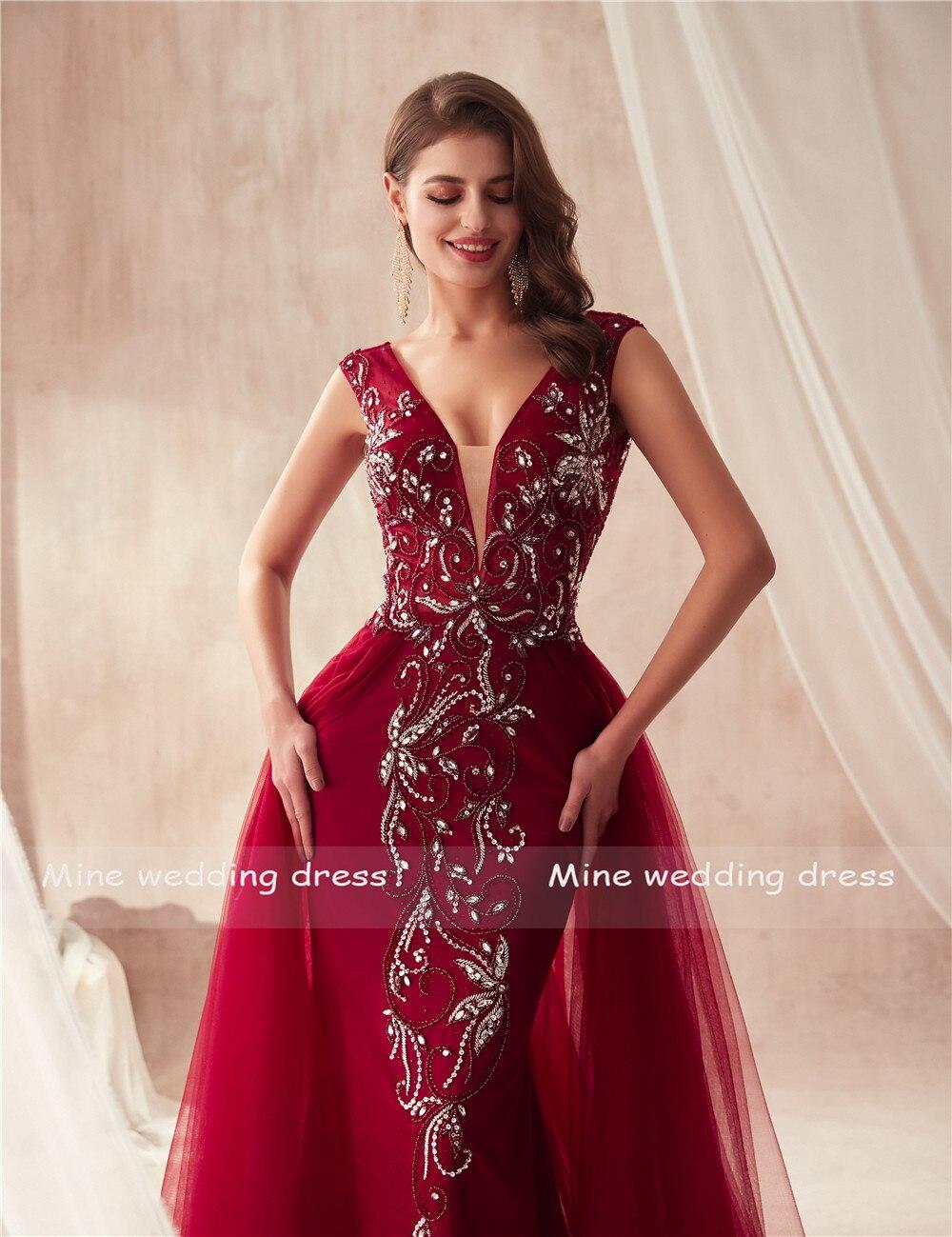V-cou De Luxe Perles Sirène De Bal robes vin rouge/Gris Sans Manches robes de soirée Cristaux Longue robe robe de bal 2019 - 3