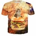 Гамбургер Кошка Майка 3d Мужская ти Летом майка Женщин мужчины О-Образным Вырезом Футболки Топы Тис galaxy пространство случайные Футболки смешные футболки рубашки