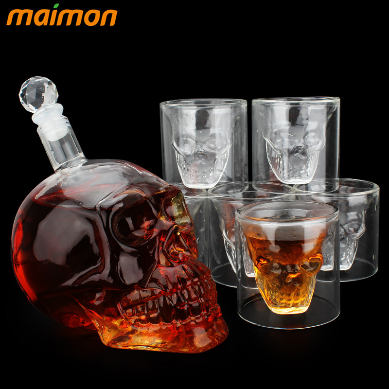 7pcs set Crystal Skull Head Shot Glasses Cup Set with 700ml Wine Glass Bottle Whiskey Decanter