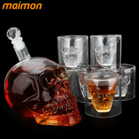 7pcs/set Crystal Skull Head Shot Glasses Cup Set with 700ml Wine Glass Bottle Whiskey Decanter Home Bar Vodka Drinking Cups Gift