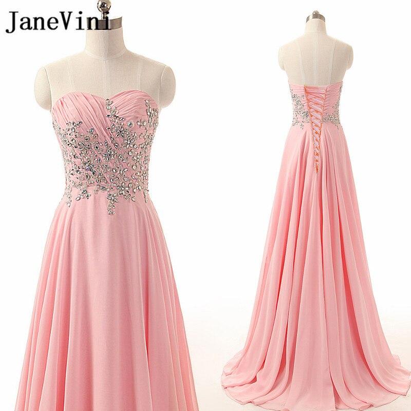 JaneVini élégant rose 2018 robes de bal cristal plissé en mousseline de soie longues demoiselles d'honneur robes chérie une ligne femmes robe de soirée formelle